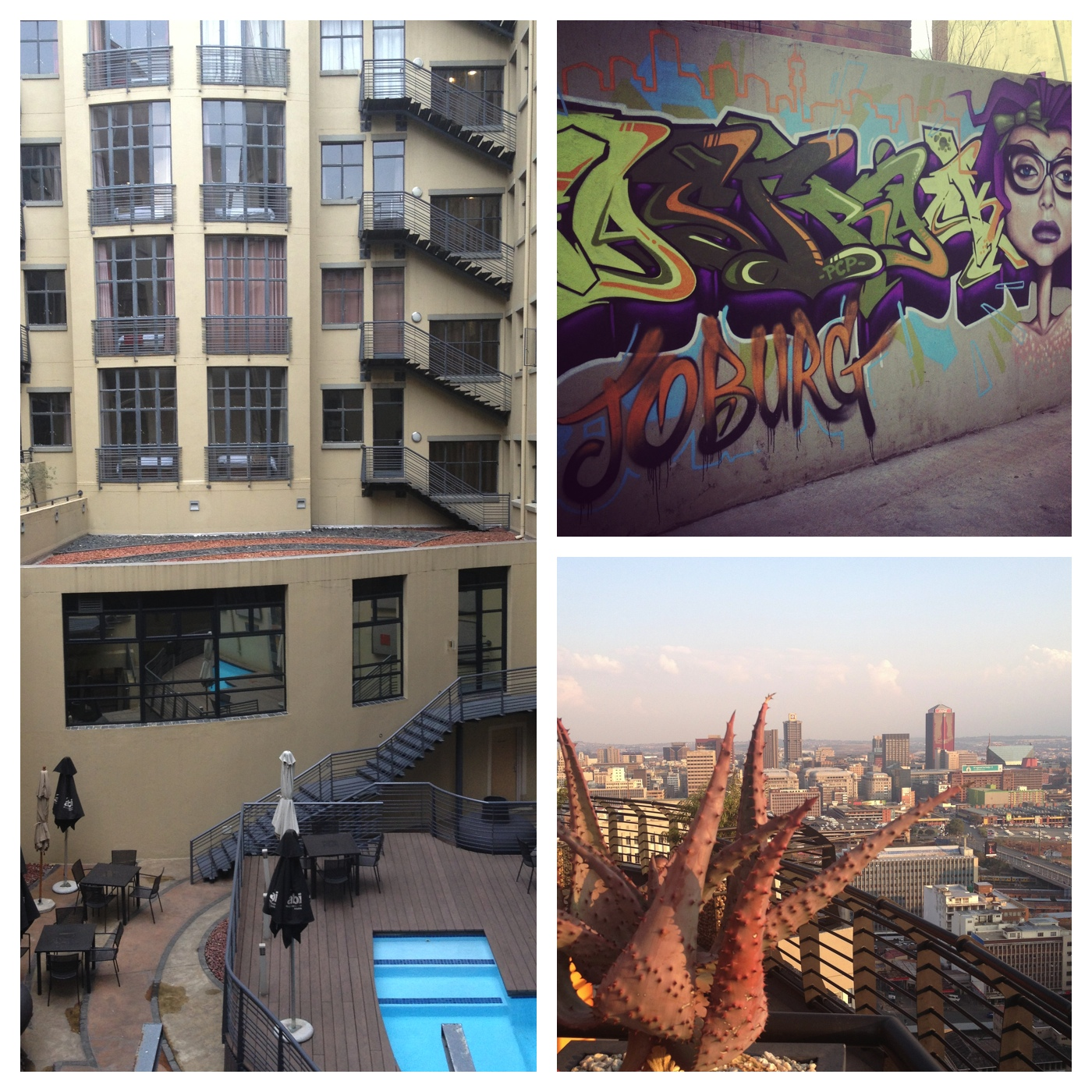 Impressions of Joburg - The Mapungubwe Hotel Courtyard, Grafitti at Fashion Kapitol and view from The Parktonian Hotel in Braamfontein