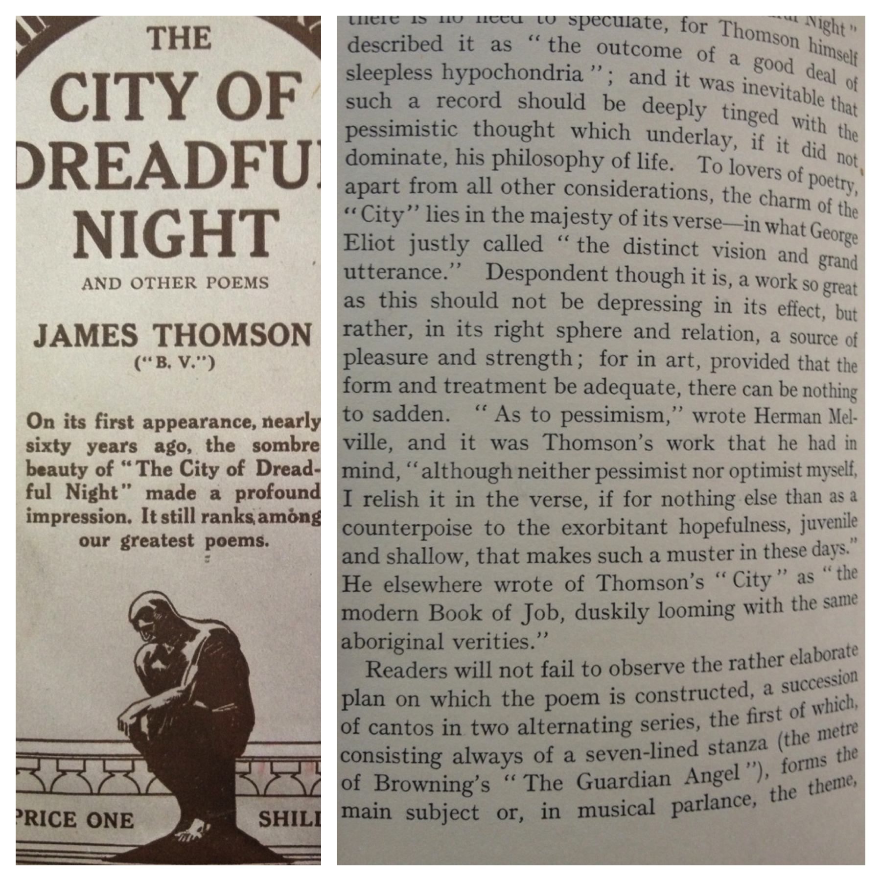 Curiosity - The City of Dreadful Night said to be the most depressing poem ever.  Delightful text - read the Melville quote.
