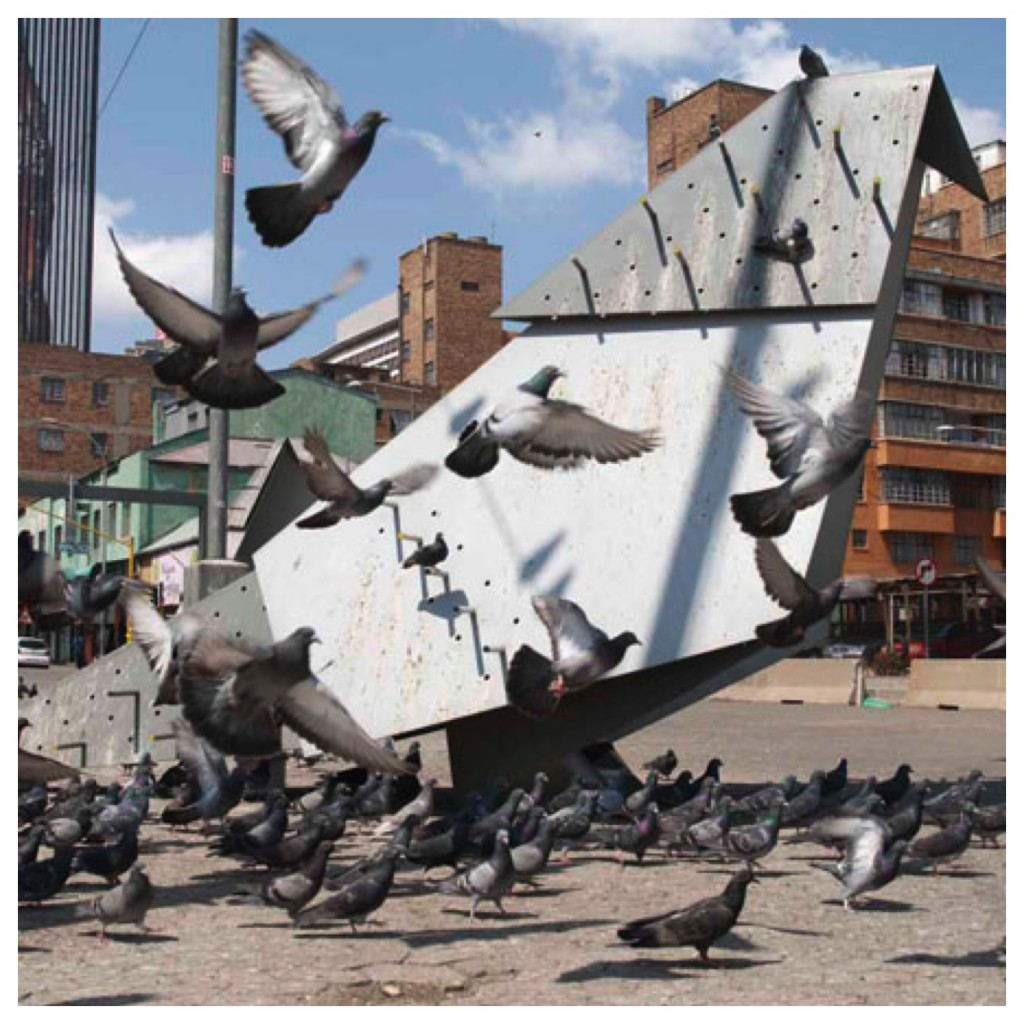 One of numerous public artworks in the city - Pigeon Square, Newtown